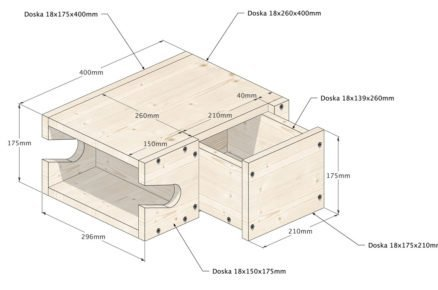 Schéma zloženého držáku na kolo s rozměry