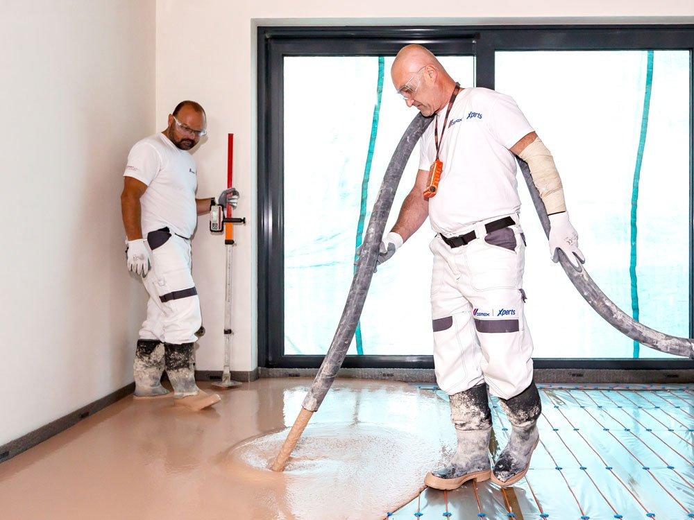 Realizace lité anhydritové podlahy
