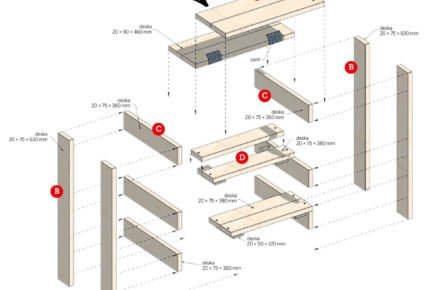 vyrábíme stolek do dílny z desek nebo palety: Rozložený stolek do dílny