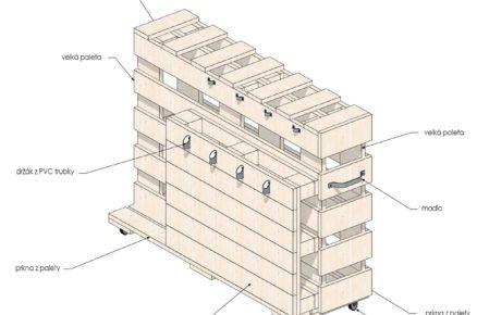 Mobilní zahradní stojan na nářadí: schéma rozměrů