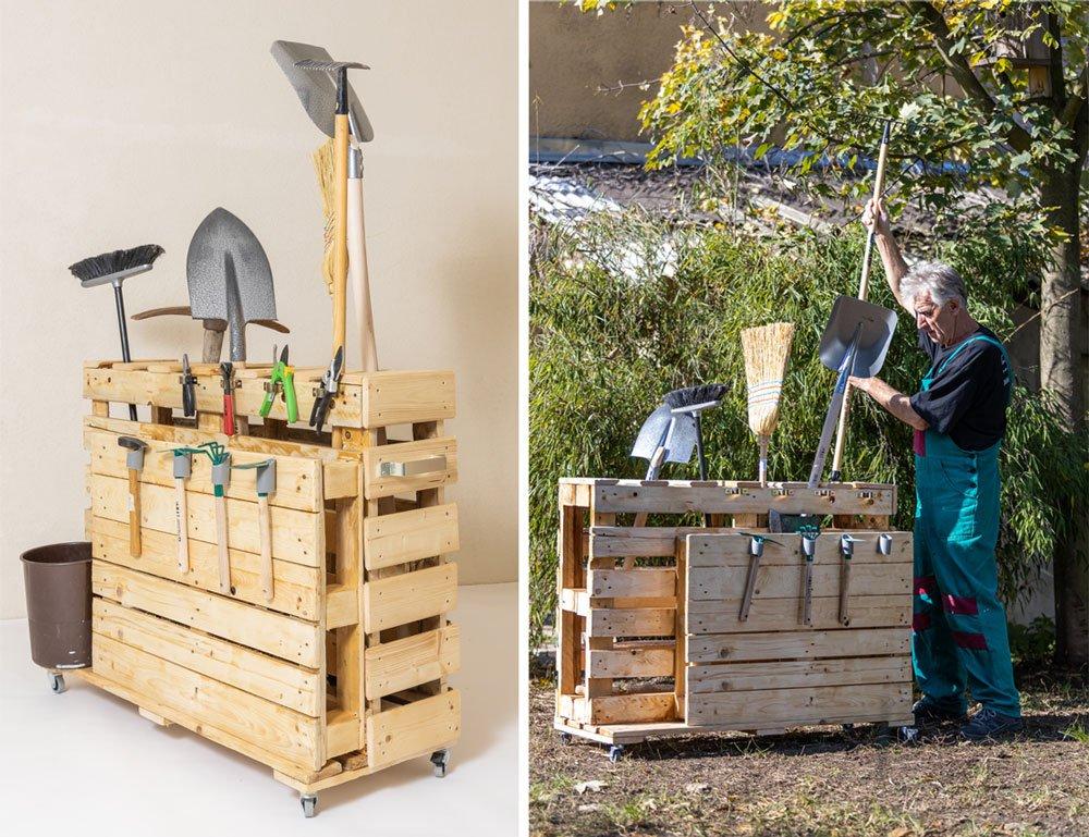 jak vyrobit mobillní stojan z palet na zahradní nářadí