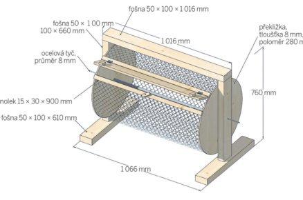 schéma s rozměry bubnového kompostéru