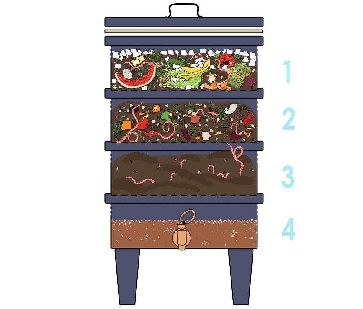 kompostování doma: vrstvy vermikompostéru