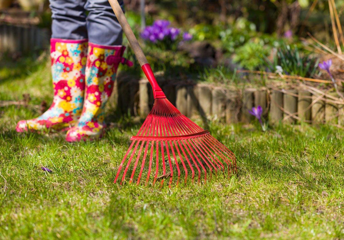 Jarní péče o trávník, hrabání lístí