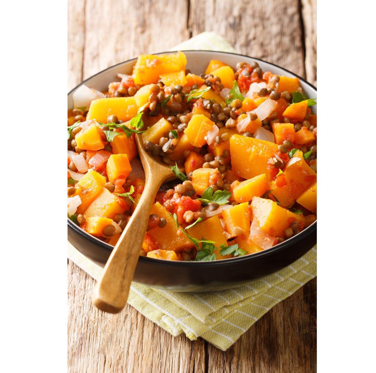 Recept na dýňovo-čočkový salát