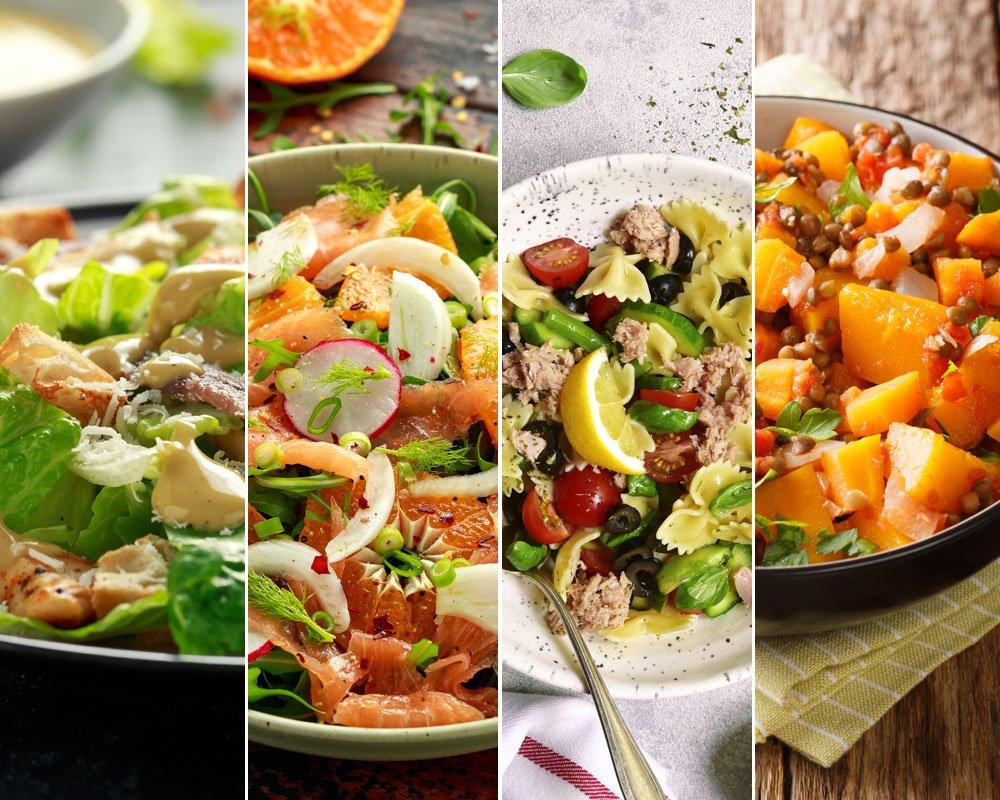 Caesar salát skuřecím masem, zelený salát suzeným lososem, těstovinový salát stuňákem a dýňovo-čočkový salát