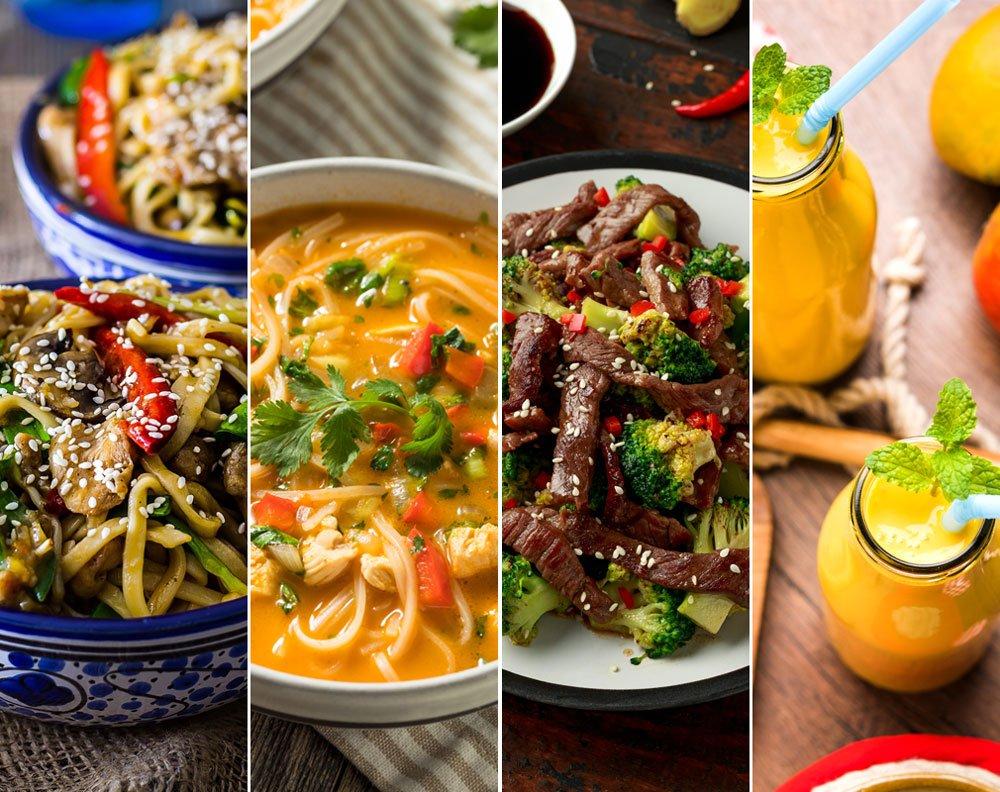 Asijské recepty -čínské nudle s kuřecím masem, kari kokosová polévka s nudlemi, hovězí s ústřicovou omáčkou a mango lassi