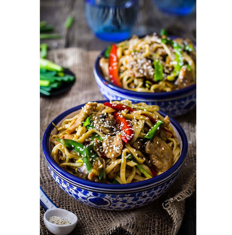 recept na Čínské nudle s kuřecím masem