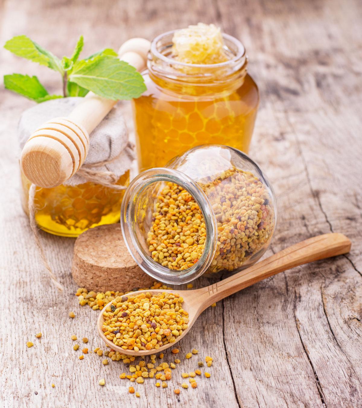 Včelí pyl a med s plástem