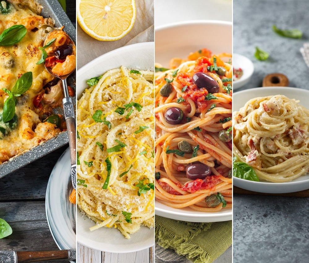 Recepty těstoviny: zapečené těstoviny, špagety s citronovou omáčkou, špagety Alla Puttanesca, Carbonara těstoviny