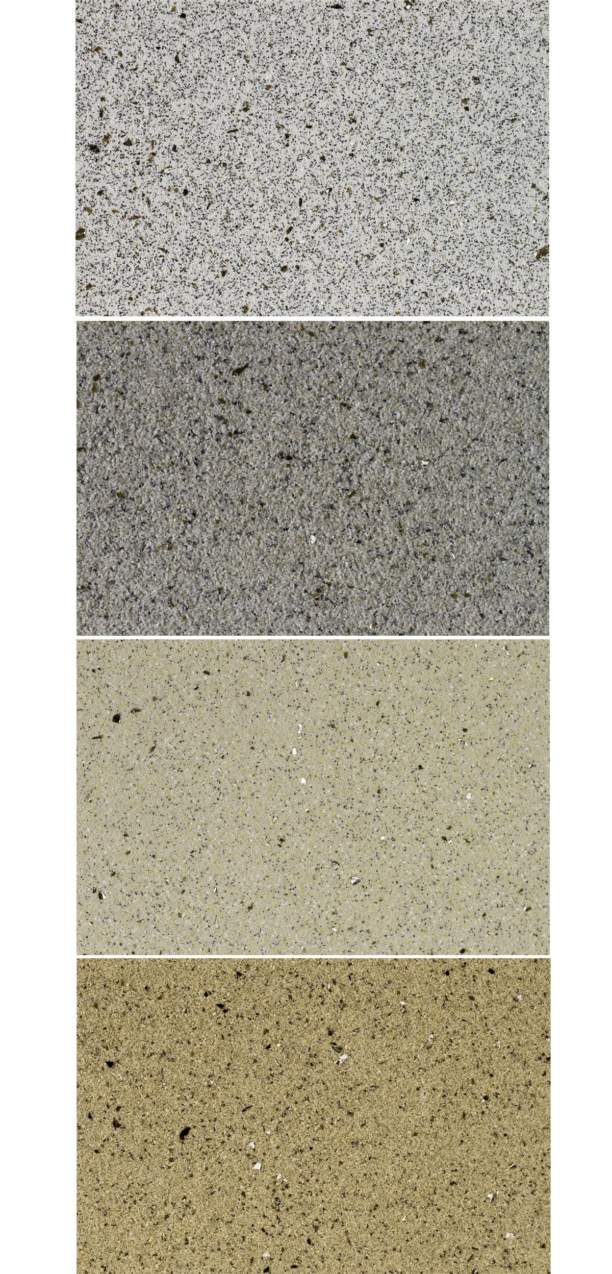 vzorkovník omítky Cemix v odstínech GRANIT WHITE, GRANIT GREY, SAND SAHARA a SAND STONE