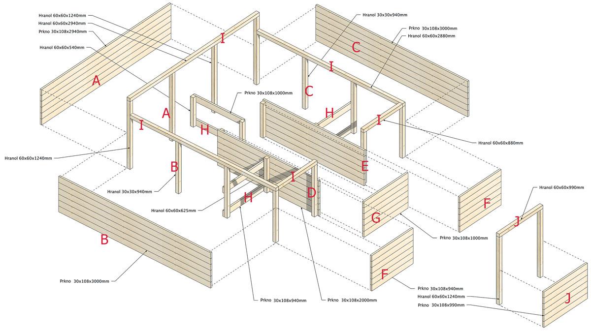 Schémata vyvýšeného záhonu s rozměry