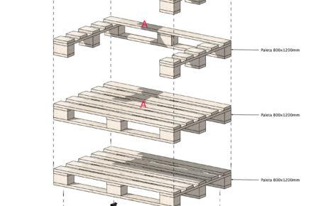 Nákres jednotlivých dílů paletového křesla