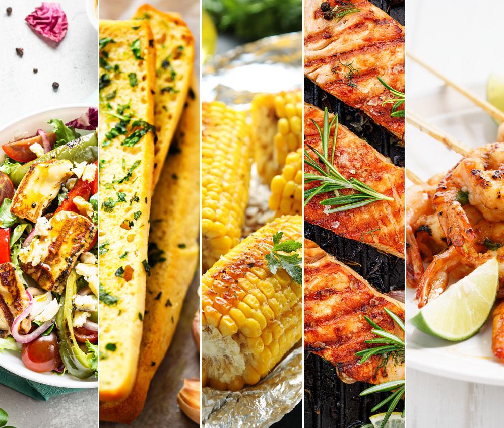 grilovaná zelenina, grilovaná bageta, kukuřice, pečený losos a krevetový špíz