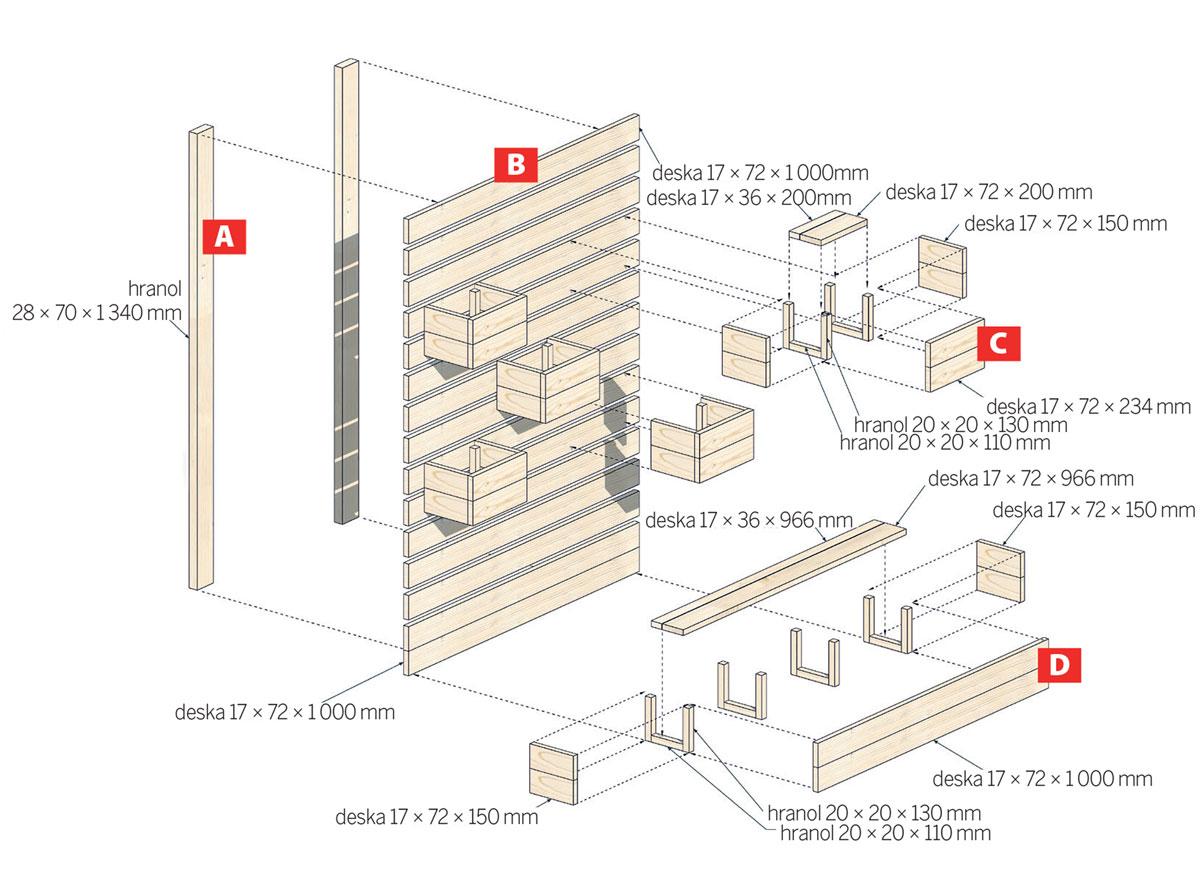 Schéma rozměrů a dílů paletové stěny