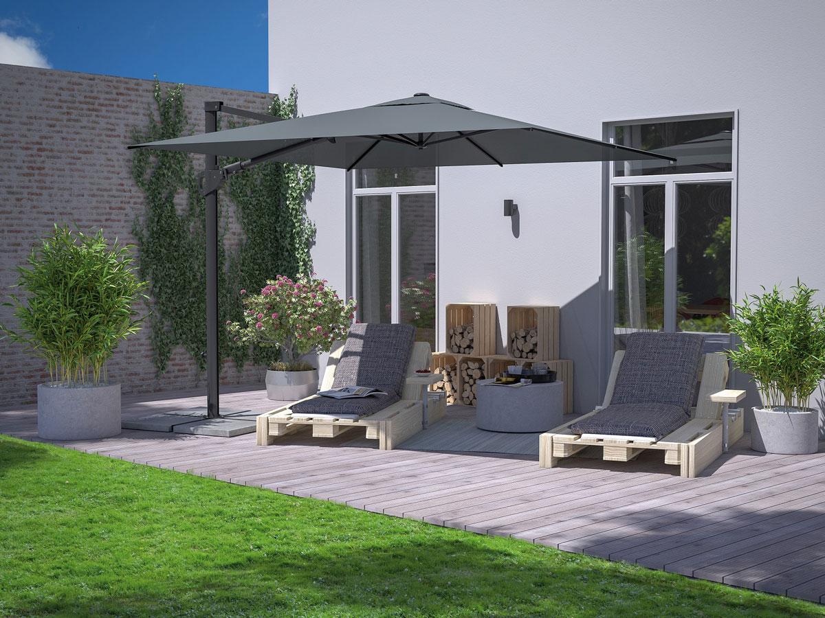 Zahradní terasa se slunečníkem