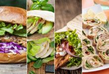 kuřecí burger, kuřecí pita, gyros a wrap s tuňákem
