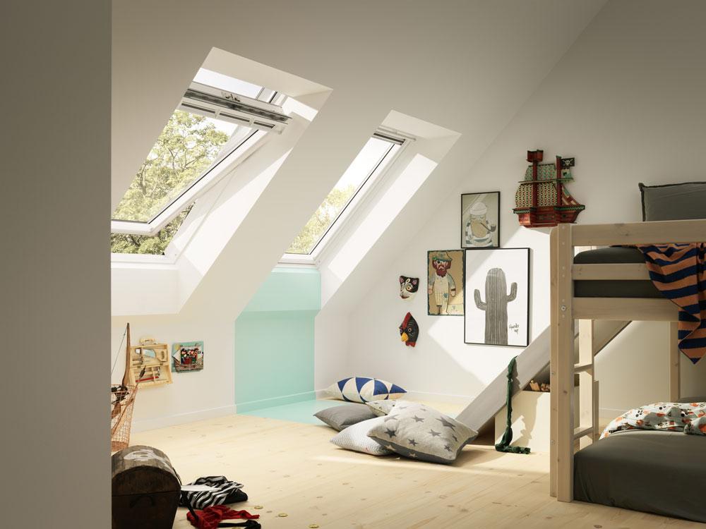 Střešní okna Velux v podkroví