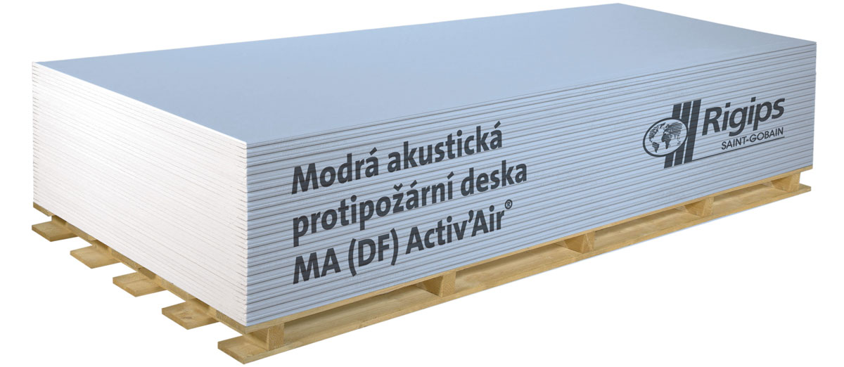 Modrá akustická protipožární deska Rigips s technologií Activ'Air®